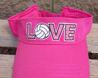 Love Volleyball bling sun visor- Makes a great Valentines day gift!