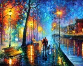 "Canvas Wall Art - Melody Of The Night — Large Landscape Love Oil Painting On Canvas By Leonid Afremov. Size: 40"" X 30"" Inches (100cm x 75cm)"