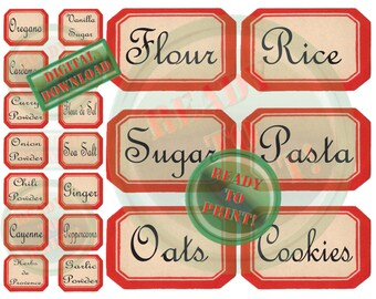 40 Kitchen Labels Printable Red Vintage Style Canister Herbs & Spices Jar Labels French Typography Fleur de Sel Herbs de Provence Sea Salt
