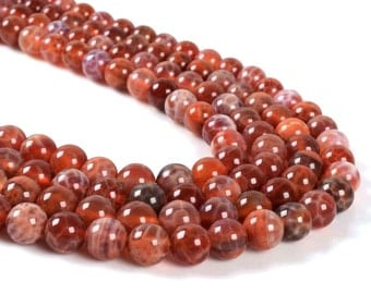8MM27 8mm Crab fire agate round ball loose gemstone beads 16""