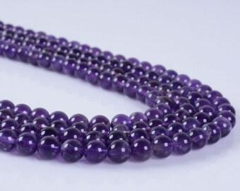 "6MM219 6mm Amethyst round ball loose gemstone beads 16"""