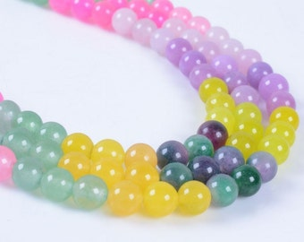 """6MM254 6mm Dyed multi-color jade round ball loose gemstone beads 16"""""""