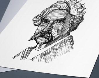 Mark Twain Line Drawing Portrait Print