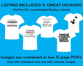 INSTANT DOWNLOAD Disney World Iron-On Mary Poppins Inspired Printable T-Shirt Iron On PDFs