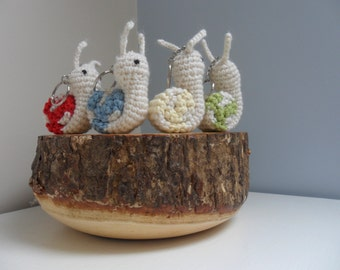 Crochet keyring key ring snail