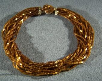 "Vintage Multi oblong Amber Glass Bead bold 16 strand 18 "" Necklace Jewelry **RL"