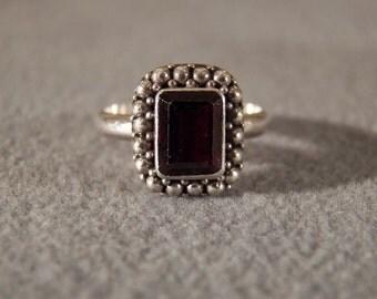 Vintage Sterling Silver with Huge Emeral Cut Garnet Ring, Size 6    **RL