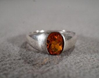 Vintage Band Ring Sterling Silver Oval Madera Citrine Bezel Set Size 8 Jewelry   **RL