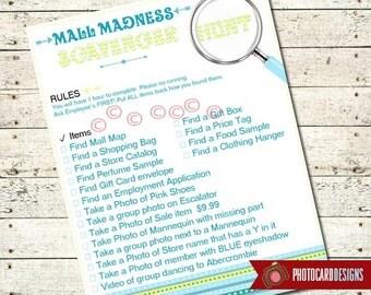 Mall Scavenger Hunt Item List | Scavenger | Shopping | Mall Madness | PDF | Digital | 8.5x11 | Printable Scavenger | Hunt List | Personalize