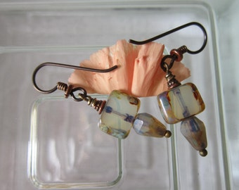 Rustic Foggy Czech Glass Earrings Lovely Old World Looking Picasso Earrings Handmade Little Earrings Hypoallergenic Niobium French Hooks