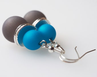 gray earrings pearls earrings turquoise