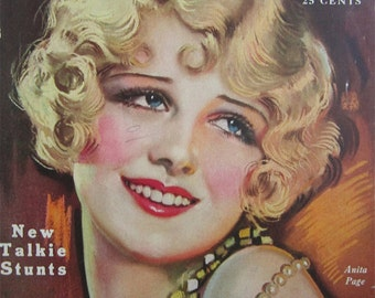 Original October 1929 Anita Page Photoplay Magazine Cover By Earl Christy - Hollywood's Golden Age - Free Shipping