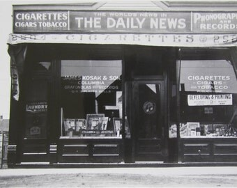 Original 1930's Chicago Daily News Stand Record Store Cigar Shop Snapshot Photo - Free Shipping