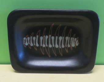 1950's Mid Century Modern Glidden Black Art Pottery #200 Abstract Fishbone Dish - Free Shipping