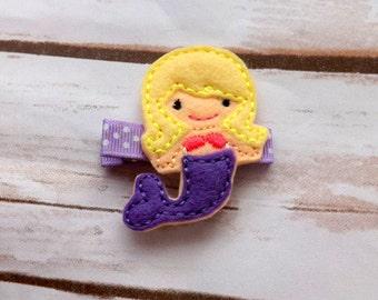 Felt mermaid hair clip, purple mermaid hair accessory, sealife mermaid hair clip, girls felt hair clips, UK seller