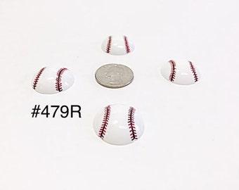 3/5/10 pc Sport Baseball Ball Resin Flat back Cabochon Hair Bow Center