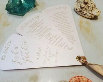 Anniversary Wedding Programs • Petal Fans • 3 petals ~ With Ribbon Detail ~ 107lb Metallic or 110lb Matte Cardstock