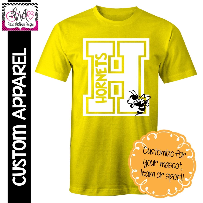Custom Apparel Custom Block Letter School Spirit T Shirt