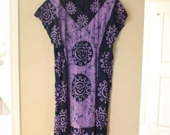 vintage purple & navy blue tye die bohemian tunic caftan dress