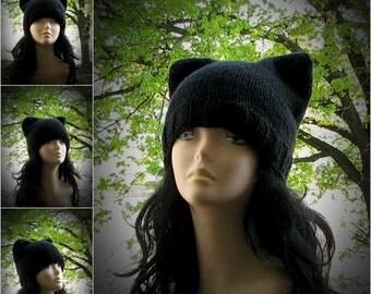 ON SALE Black cat wool hat Pussyhat, Black pussyhat, Pussy hat, Black Cat hat, Cat ear hat, cat hat, black cat ears hat, cat ear