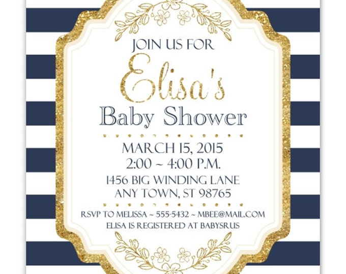 Baby Shower Invitation, Navy Stripes and Gold Baby Shower Invite, DIY Invitations, Customized for you - 4x6 or 5x7 size - YOU print