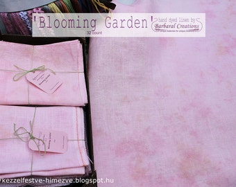 Hand dyed 32 count linen fabric for embroidery, cross stitch - 'Blooming garden'