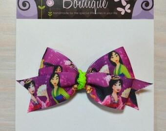 Boutique Style Hair Bow - Disney Princess, Mulan