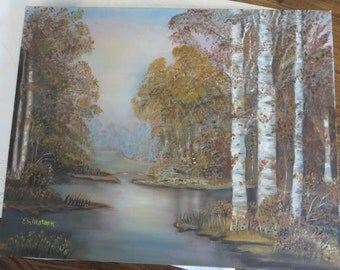 Oil on Canvas Painting BIRCH Trees in Autumn  //  Fall Decor  //  Painting by E. M. Watson  //  No Frame  Canvas is 20 by 16 Inches