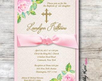 Floral Baptism Invitation Floral Christing Invitation - Real Ribbon