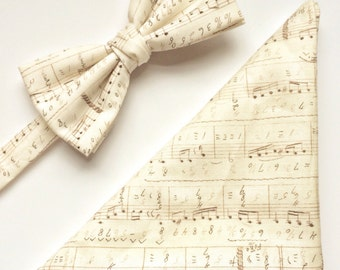 Mens gift set, gifts for him, Matching mens bow tie pocket square gift set, music note ivory bow tie, gifts for him