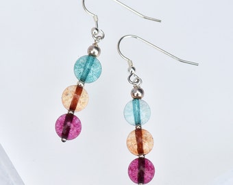 Colourful Tourmaline Earrings, Sterling Silver Earrings, Tourmaline Bead Earrings