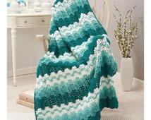 Shades of Aqua Blue and Aqua Green Sea Foam Afghan Crochet Afghan Kit BRAND NEW (sealed) with instructions and yarn