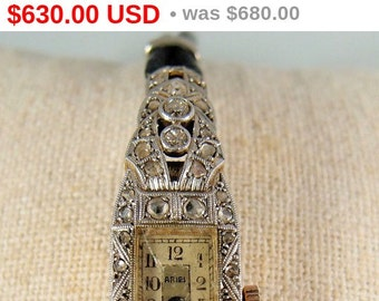 6-DAY SALE! Antique Art Déco watch in 18K solid gold, platinum and 54 diamonds, Stamped fine French jewelry, Circa 1920s