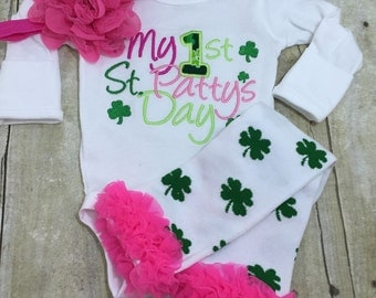 St. Patricks Day outfit shirt, legwarmers, and headband