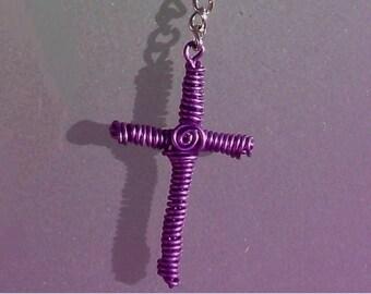 Aluminum purple cross 1mm  about 5 cm