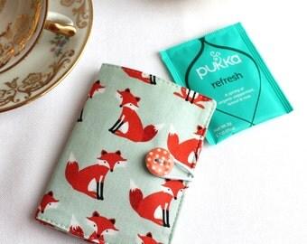 Little foxes tea wallet, travel teabag holder - woodland creatures - mint, rust - great Christmas present