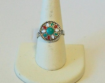 Small Silver Turquoise Red and White Round Southwestern Style Fashion Ring Adjustable Band
