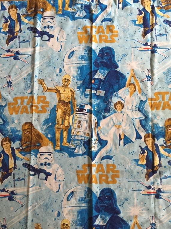 Vintage Star Wars Sheet Curtains Set Of 2 Flat Fabric