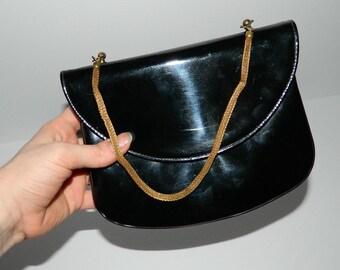 Vintage, Black, Patent Leather Evening Bag