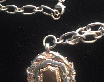 Sterling Silver 1924 medal Fob Pendant and Necklace.