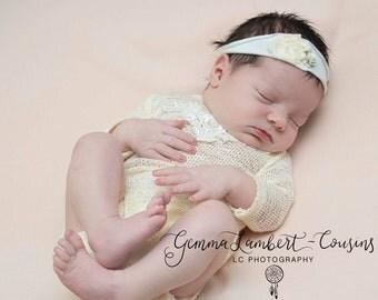 Newborn 'PRIMROSE' long sleeve romper bodysuit & headband set  baby photo prop girl