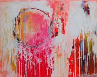 Painting red Abstract, Red Wall Decor, Pink Neon Circle (16-40), Wall art, On canvas, Original Hand Made, Abstract Painting, Modern Artwork