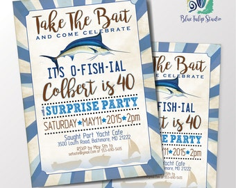 Marlin Fishing Birthday Party Invitation /  Announcement with Marlin Fish / Printable