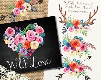 Watercolor flowers clipart, Deer horn and roses, Love heart , wedding clip art, digital clipart, hand painted bouquets