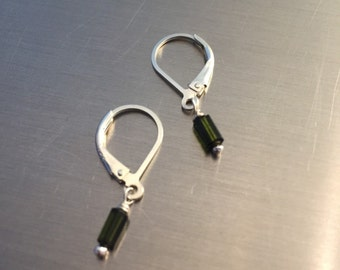 30% OFF Deep Green Tourmaline Crystal Earrings