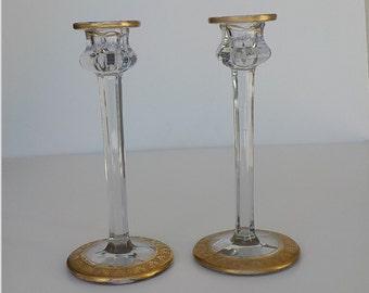 Vintage Candlesticks - 2 Clear Candle Holders - Gold Trim Leaf Candlesticks