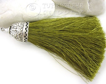 Extra Large Thick Olive Green Tassel, Antique Silver Plated Cap Turkish Hand Made Silk Thread Tassel Findings, Tassel Necklace Jewelry