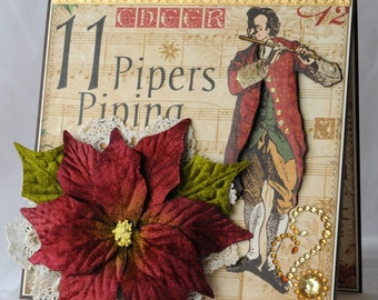 11 Pipers Piping, 12 Days of Christmas, 11th Day of Christmas, Christmas Card,  Greeting Card, Handmade Card, Layered Card