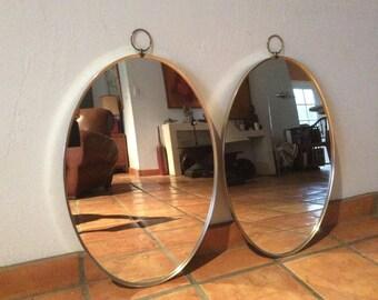Pair of Mid Century Oval Mirrors