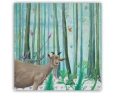 """Goat and Bird 5x5"""" card -  A little goat and a fancy purple bird in a blue-green fantasy woodland with busy butterflies and insects."""